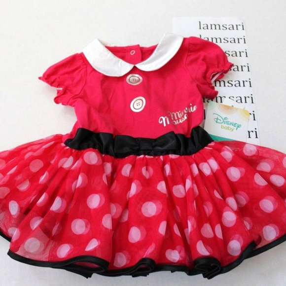 Minnie Mouse Tutu dress size 6-9 month Black top with red skirt white polka dots